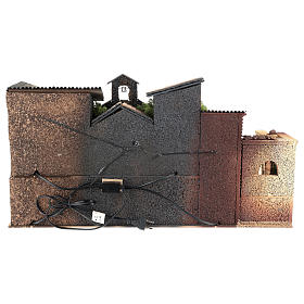 Ambientazione presepe 6 cm con chiesa  40x70x40 cm s4