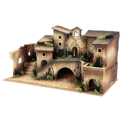 Ambientazione presepe 6 cm con chiesa  40x70x40 cm 2