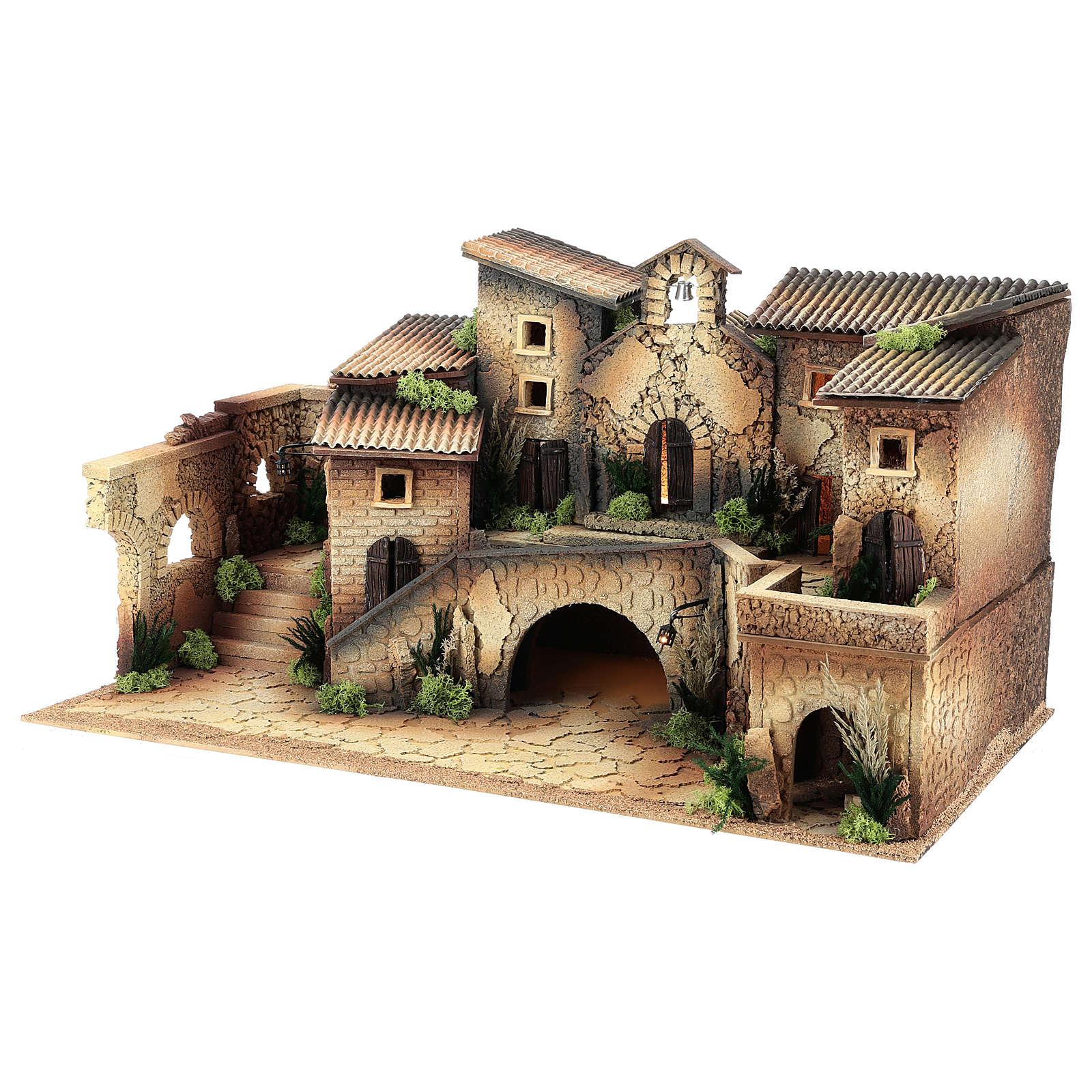 Cenário com igreja 40x70x40 cm para presépio com figuras de 8 cm de altura média 4