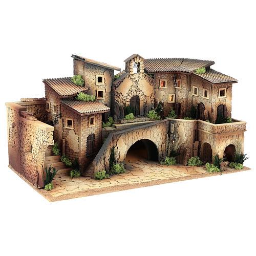 Cenário com igreja 40x70x40 cm para presépio com figuras de 8 cm de altura média 3