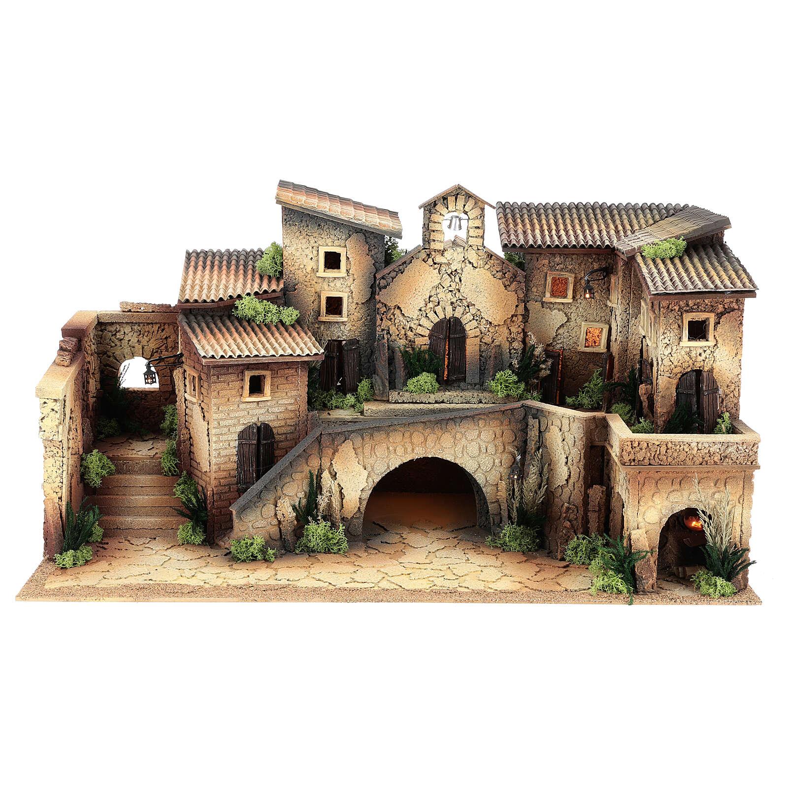 Miniature church with village, 8 cm nativity 40x70x40 cm 4