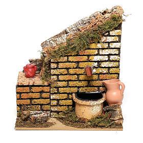 Fontaine avec pompe et mur 15x15x10 cm crèche 8-10 cm s1