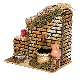 Fontaine avec pompe et mur 15x15x10 cm crèche 8-10 cm s2