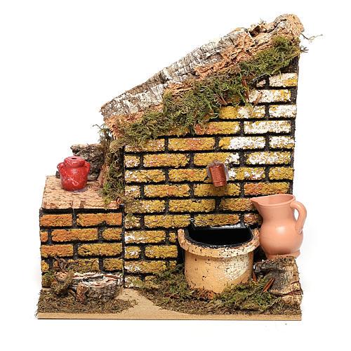 Fontaine avec pompe et mur 15x15x10 cm crèche 8-10 cm 1