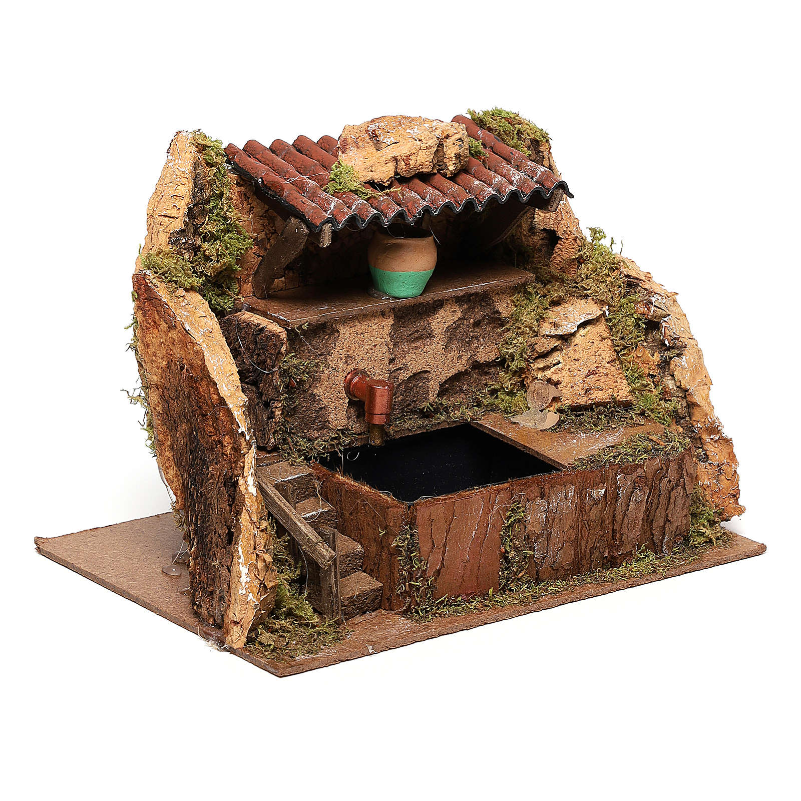 Fountain with pump of 13x19x13 cm for Nativity scenes of 8-10 cm 4