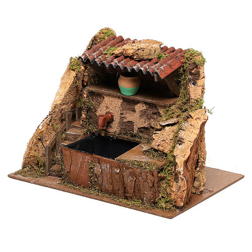 Fountain with pump of 13x19x13 cm for Nativity scenes of 8-10 cm 2