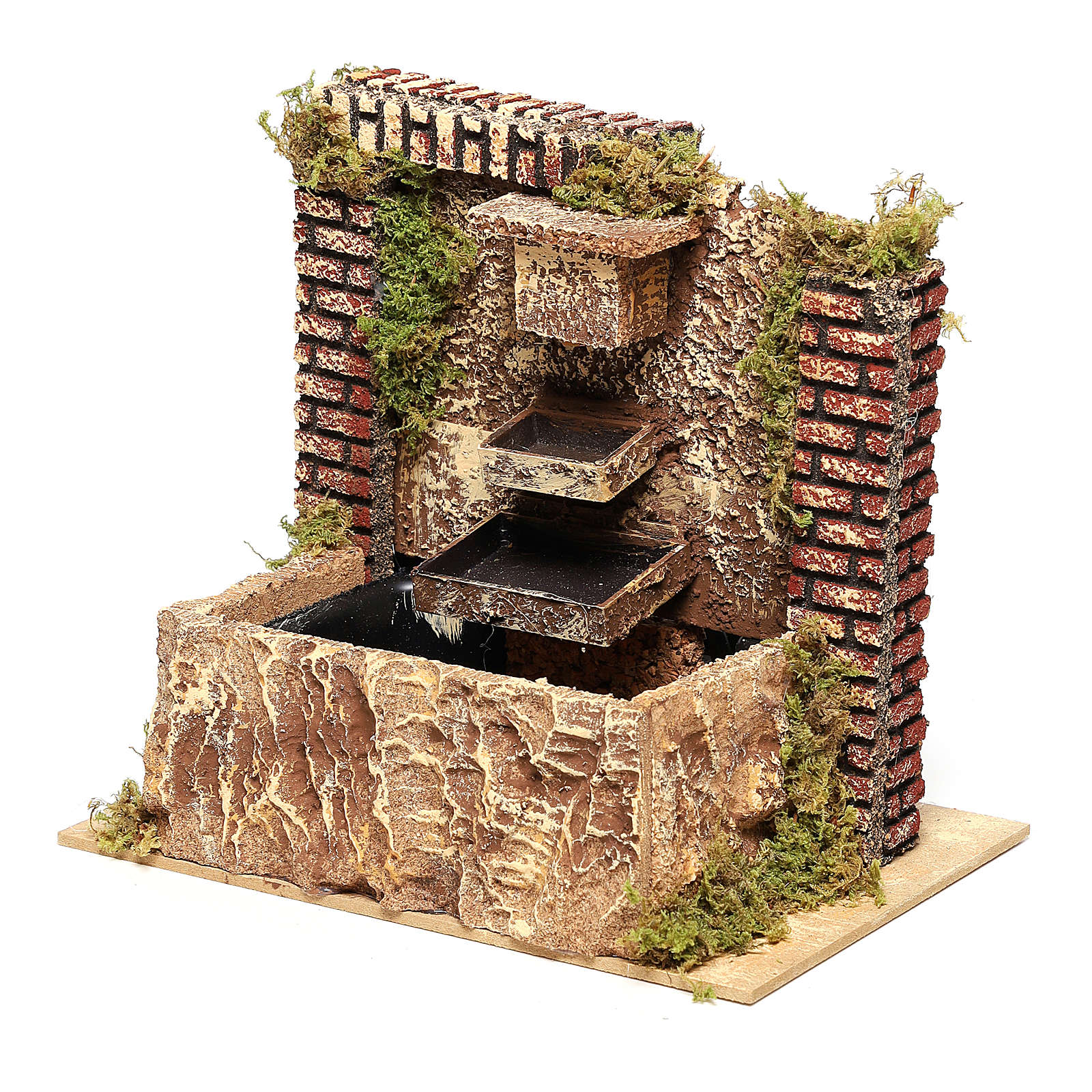 Fontana con pompa a tre strati di 15x20x14 cm per presepi 8-10 cm 4