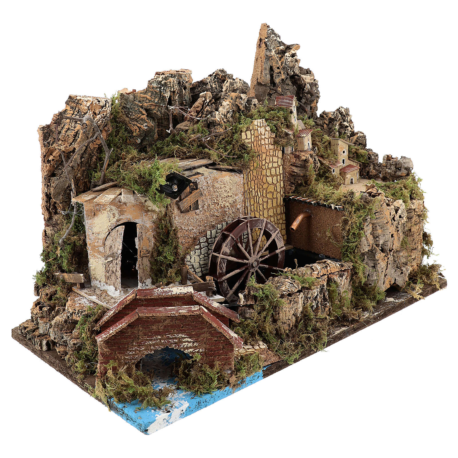 Miniature water mill with pump and lights, 35x50x30 cm for 10-12 cm nativity 4