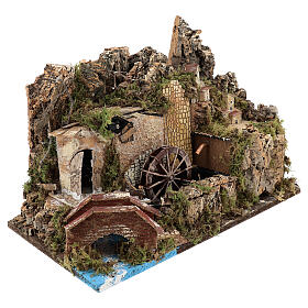 Miniature water mill with pump and lights, 35x50x30 cm for 10-12 cm nativity s3