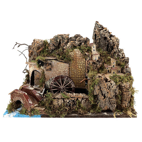 Miniature water mill with pump and lights, 35x50x30 cm for 10-12 cm nativity 1