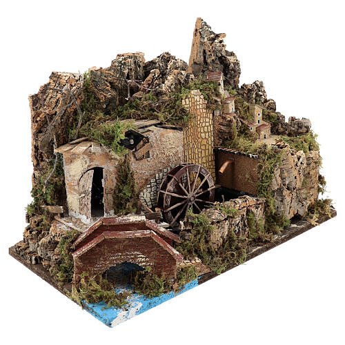 Miniature water mill with pump and lights, 35x50x30 cm for 10-12 cm nativity 3