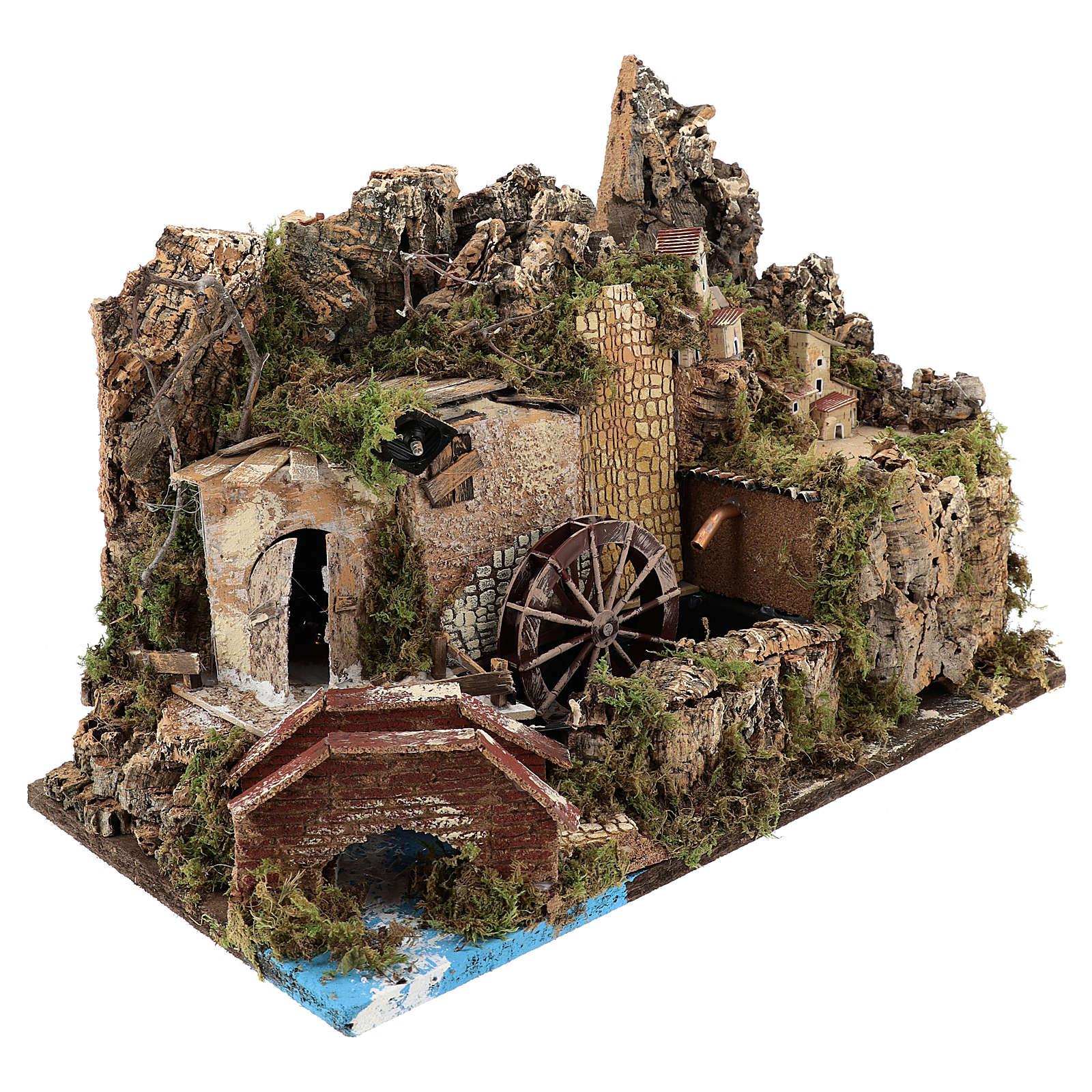Moulin à eau avec pompe et lumières 35x50x30 cm pour crèche 10-12 cm 4