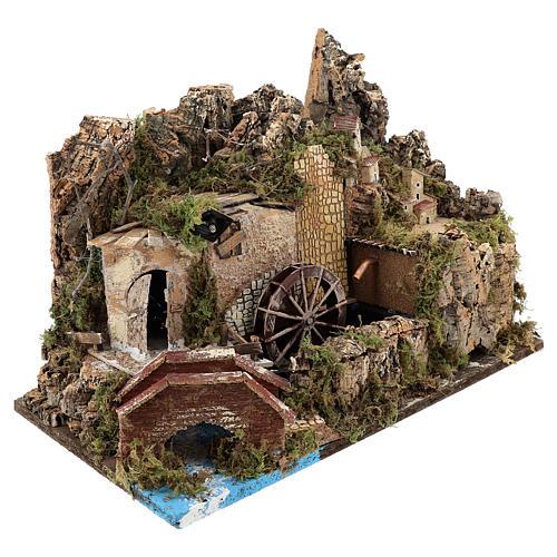Moulin à eau avec pompe et lumières 35x50x30 cm pour crèche 10-12 cm 3
