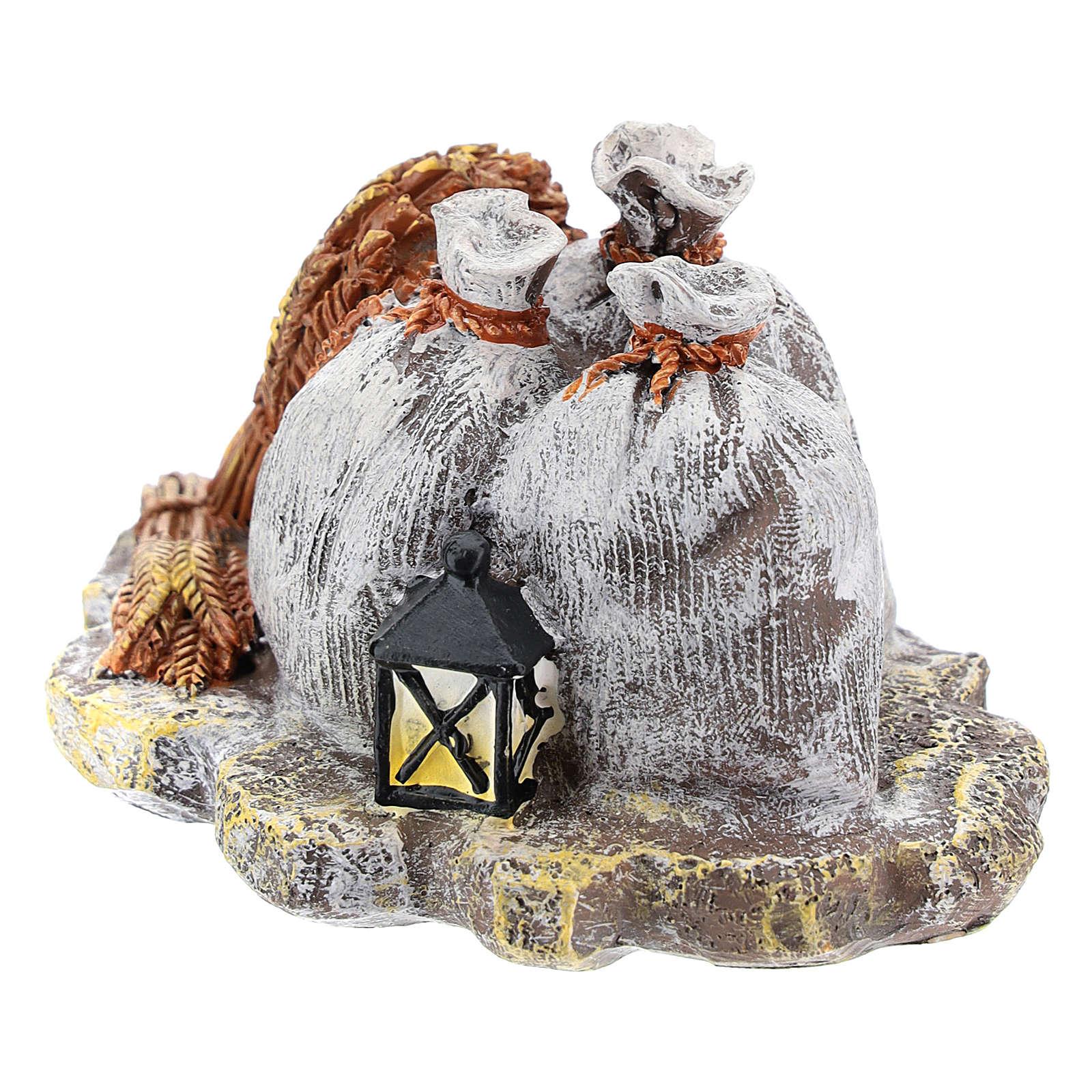 Décor avec sacs et lanterne en résine bricolage crèche 8-10 cm 4