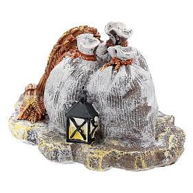 Décor avec sacs et lanterne en résine bricolage crèche 8-10 cm s2