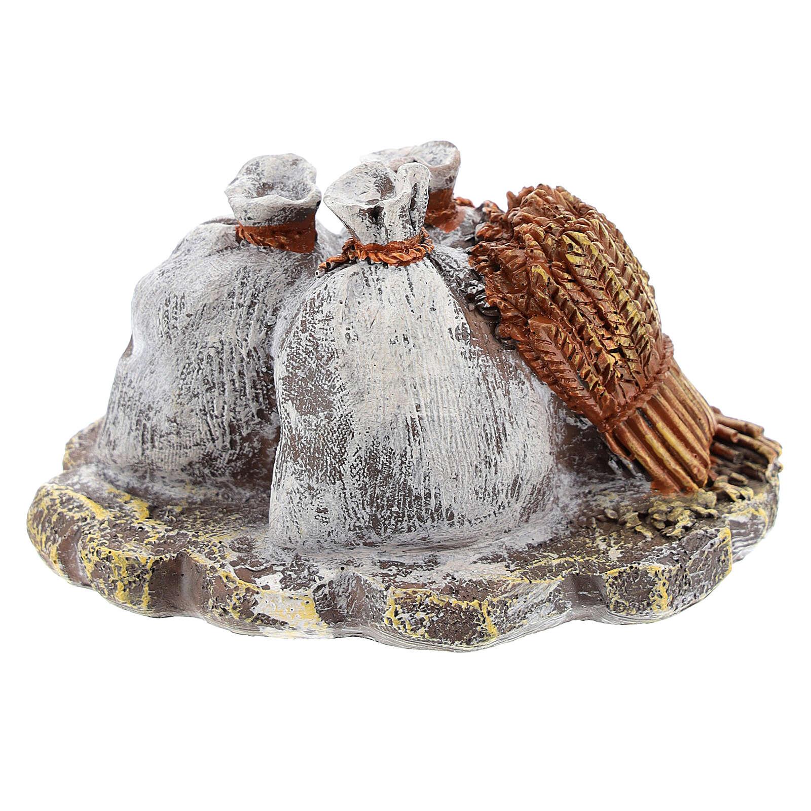 Miniature sacks and lantern in resin, DIY nativity 8-10 cm 4