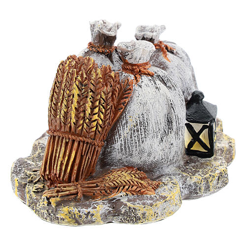Miniature sacks and lantern in resin, DIY nativity 8-10 cm 3
