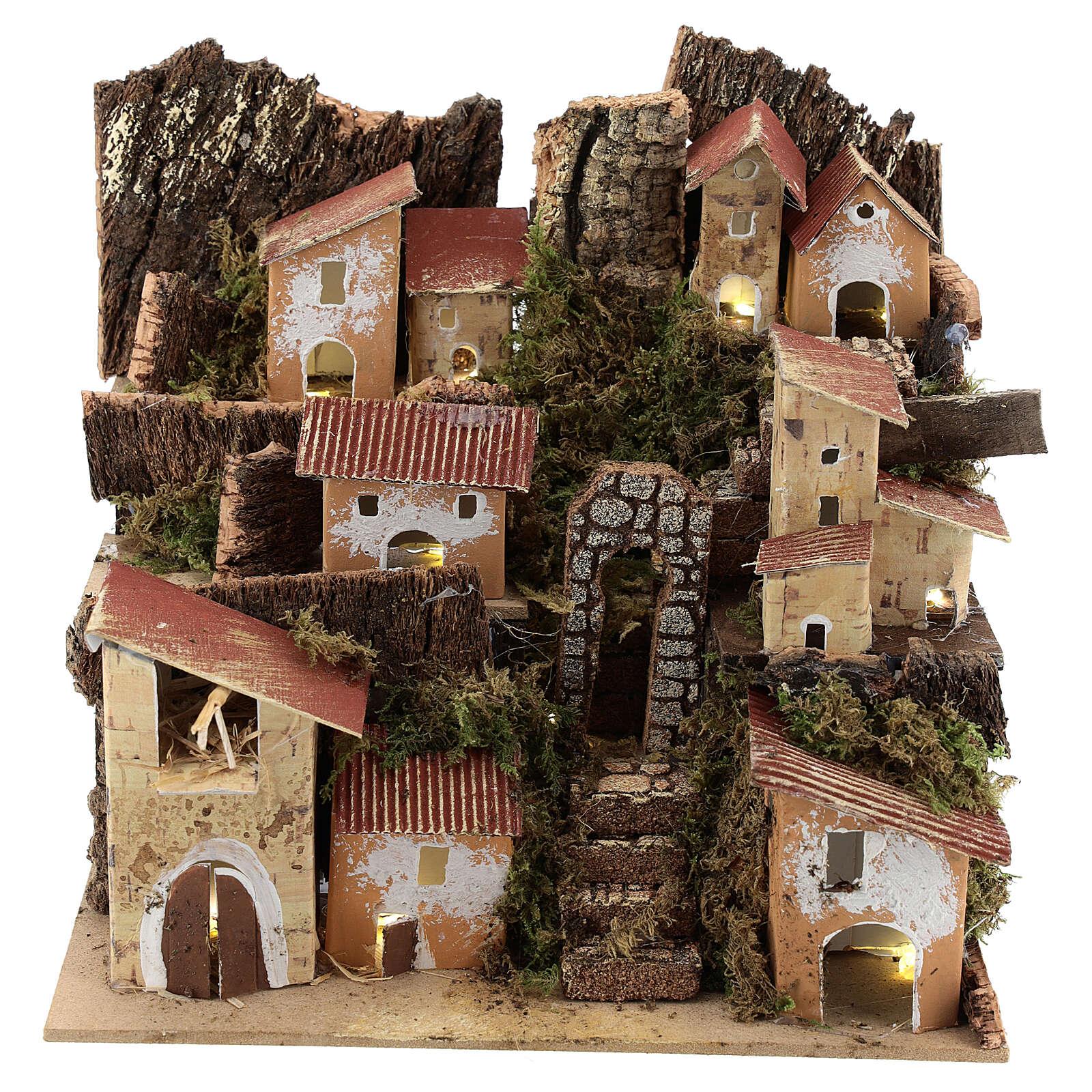 Miniature Italian village with 10 lights battery powered, 20x20x15 cm 4