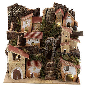 Miniature Italian village with 10 lights battery powered, 20x20x15 cm s1