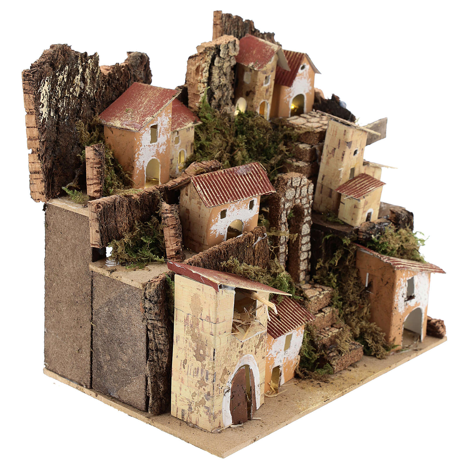Miniature Italian village with 10 lights battery powered, 20x20x15 cm 4