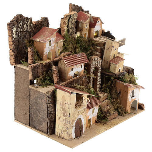 Miniature Italian village with 10 lights battery powered, 20x20x15 cm 3