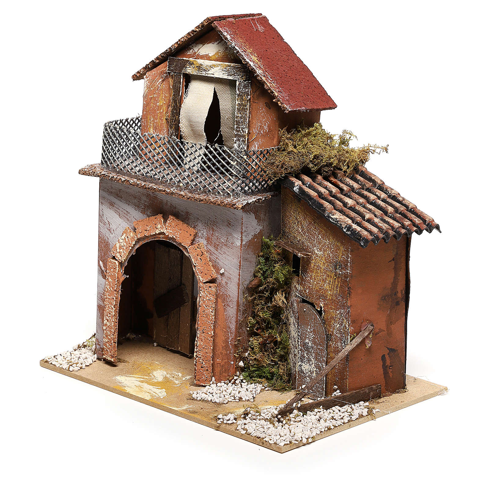 House with fountain for Nativity scene 20x20x15 cm 4