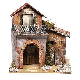 House with fountain for Nativity scene 20x20x15 cm s1