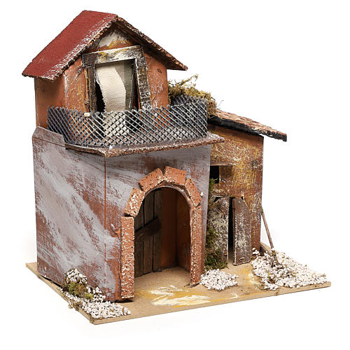 House with fountain for Nativity scene 20x20x15 cm 3