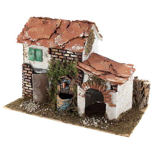 House with fountain for Nativity scene 20x30x20 cm 2