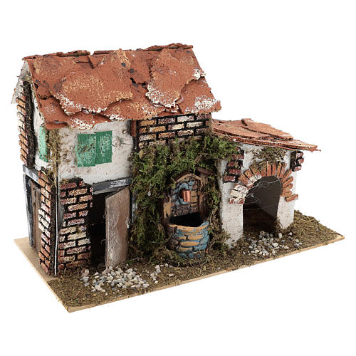 House with fountain for Nativity scene 20x30x20 cm 3