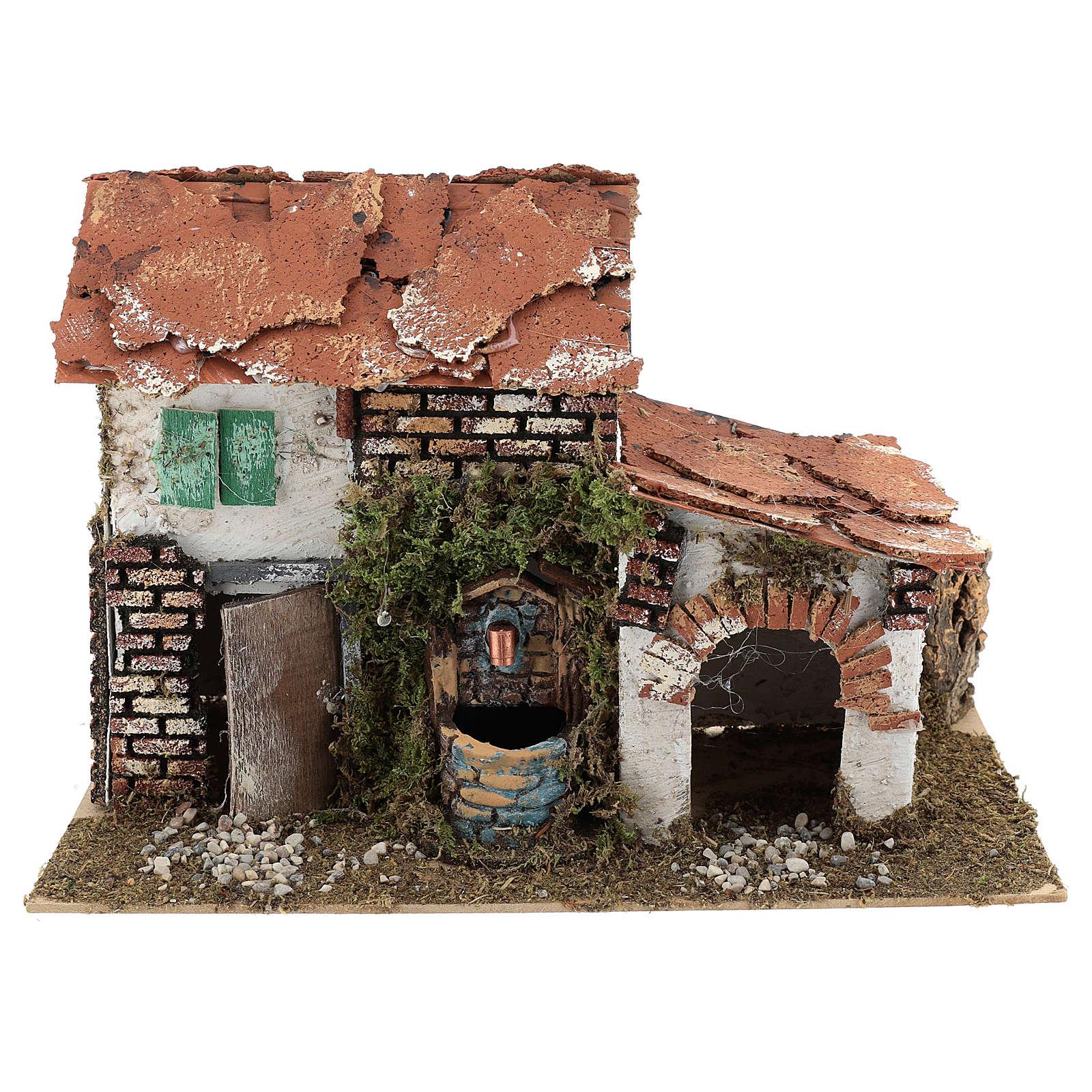 Maison avec fontaine pour crèche 20x30x20 cm 4