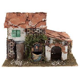 Ambientações para Presépio: lojas, casas, poços: Casa com fontanário para presépio 20x30x20 cm