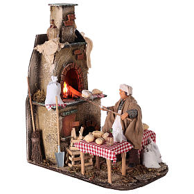 Oven with flickering light and baker Nativity scene 15 cm s4