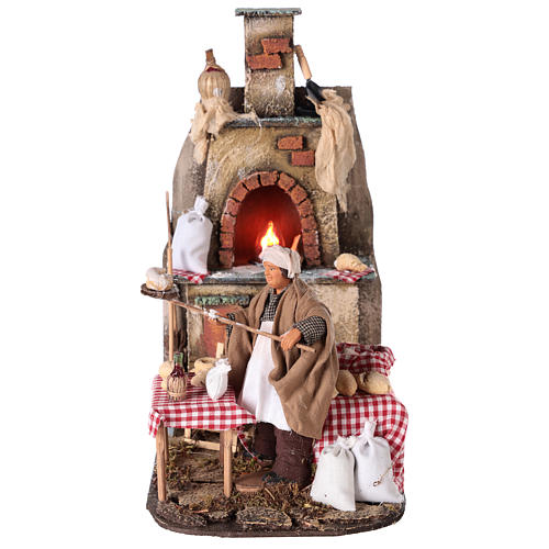 Oven with flickering light and baker Nativity scene 15 cm 1