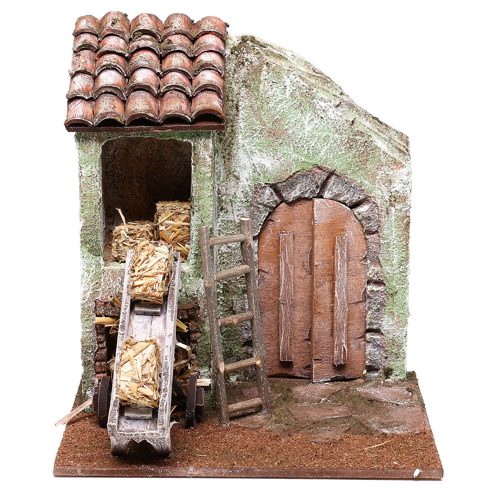 Barn with accessory for Nativity scene of 10 cm 20x20x15 cm 4