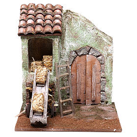 Barn with accessory for Nativity scene of 10 cm 20x20x15 cm s1