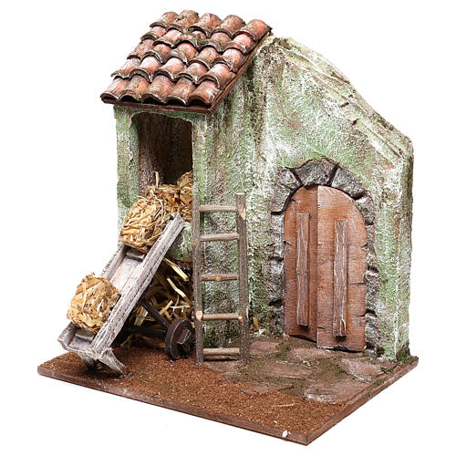 Barn with accessory for Nativity scene of 10 cm 20x20x15 cm 2