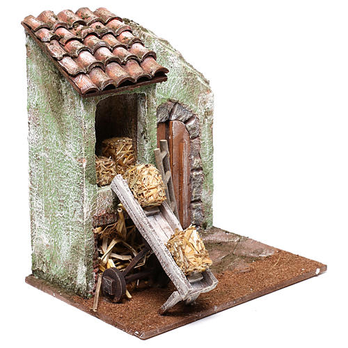Barn with accessory for Nativity scene of 10 cm 20x20x15 cm 3