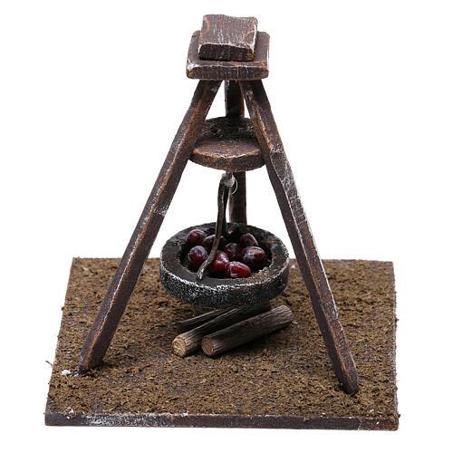 Miniature chestnut roaster 5x10x10 cm, for 10 cm nativity 3