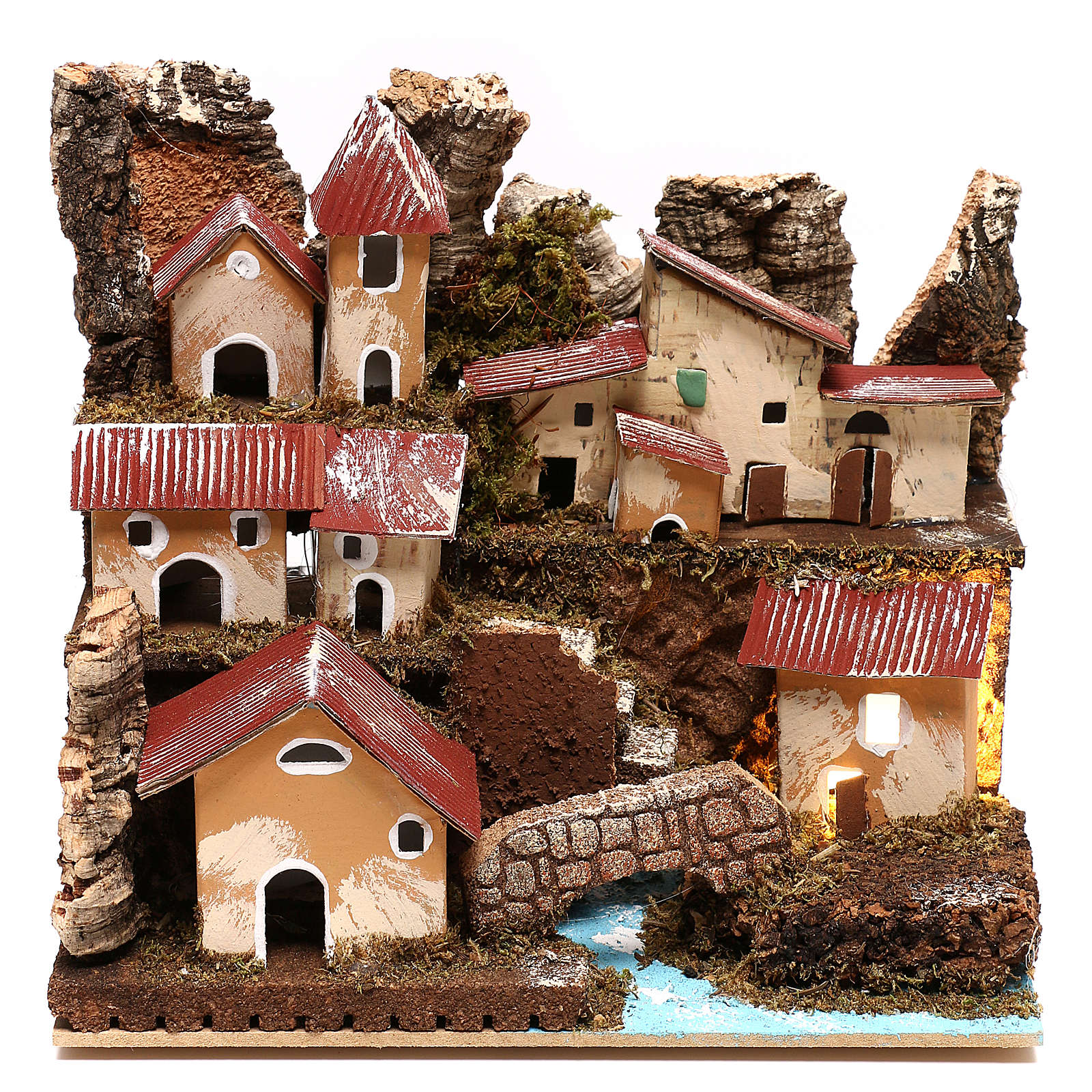 Illuminated village with stairs and bridge Nativity scenes 4 cm 4