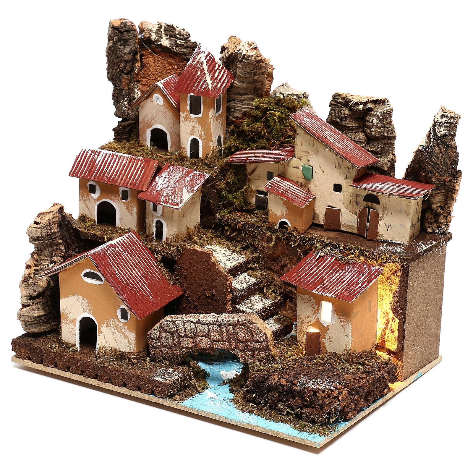 Petit village éclairé avec escalier et pont crèche 4 cm 4