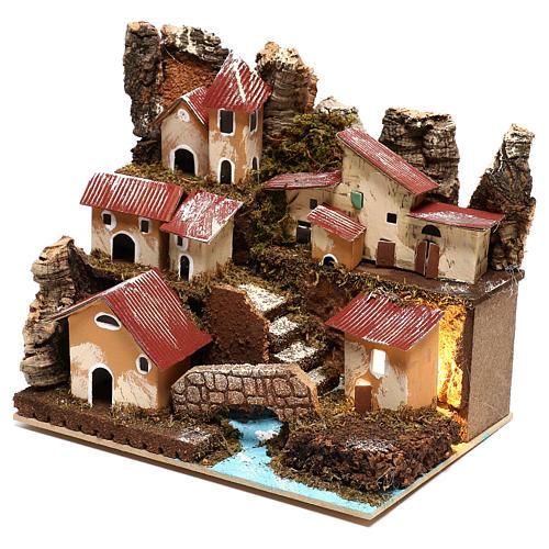 Petit village éclairé avec escalier et pont crèche 4 cm 2