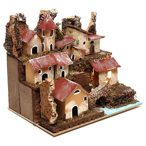Petit village éclairé avec escalier et pont crèche 4 cm 3
