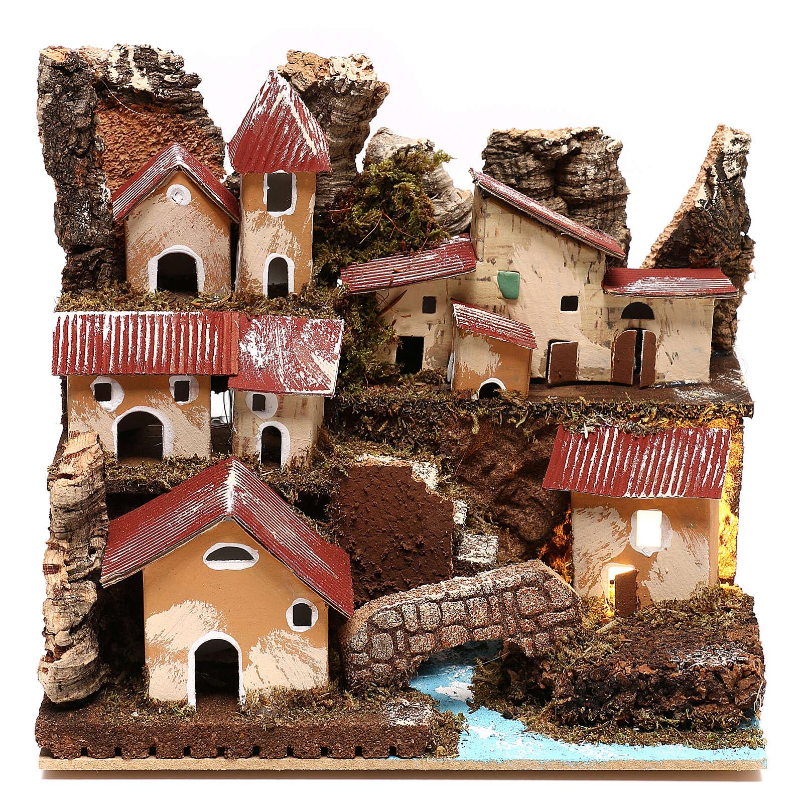Lighted nativity village with steps and bridge 4 cm nativity 4