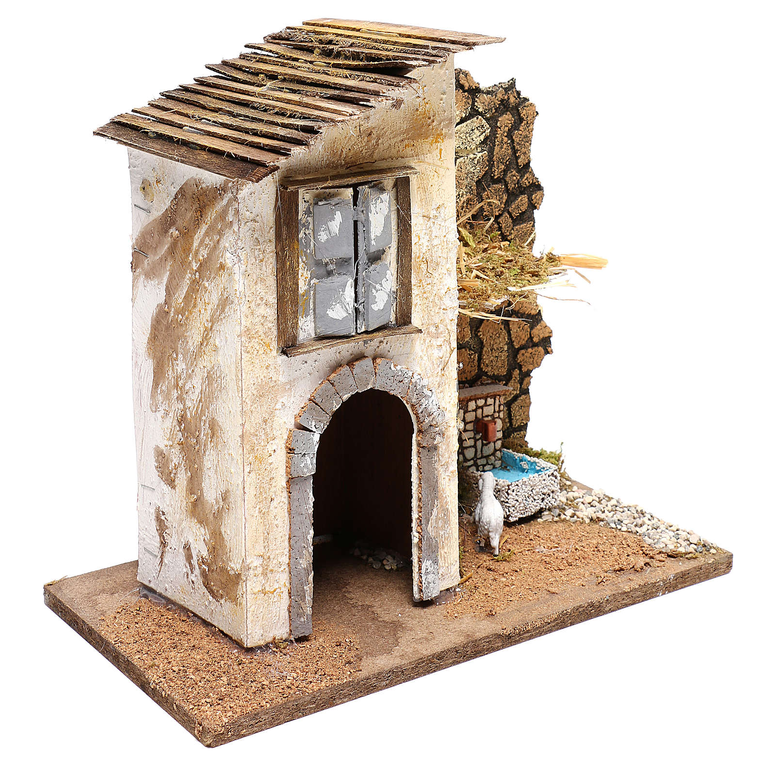 Farmhouse with fountain and sheep Nativity scenes 11 cm 4
