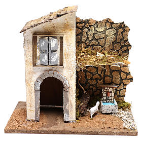 Farmhouse with fountain and sheep Nativity scenes 11 cm s1