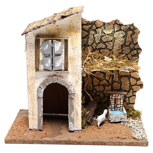 Farmhouse with fountain and sheep Nativity scenes 11 cm 1