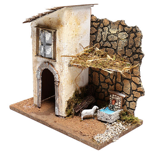 Farmhouse with fountain and sheep Nativity scenes 11 cm 2