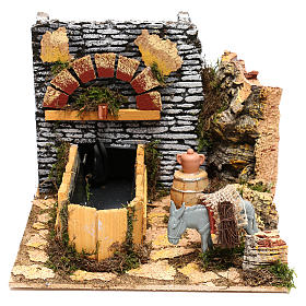 Working fountain and donkey Nativity scenes 10 cm s1