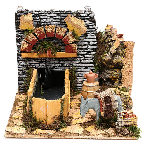 Working fountain and donkey Nativity scenes 10 cm 1